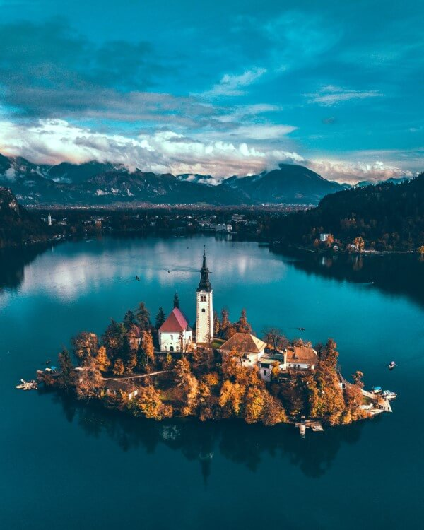 The Church of the Assumption of Maria is perched on the island at the center of Lake Bled